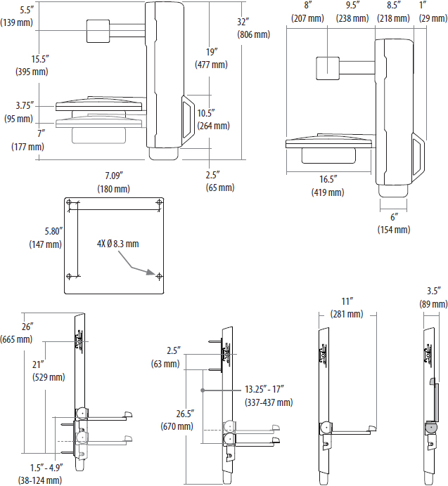 Technical drawing for Ergotron 61-081-085 SV Sit-Stand Vertical Lift, High-Traffic