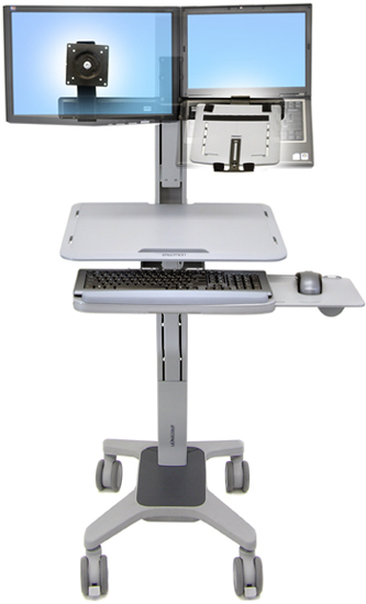 Ergotron 24-195-055 WorkFit C-Mod Sit-Stand Workstation for both Laptop and LCD Monitor