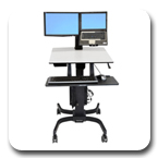 Ergotron 24-213-085 WorkFit-C Sit-Stand Workstation for LCD Monitor & Laptop with Mobile Cart Base (black/grey)