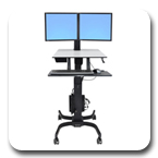 Ergotron 24-214-085 WorkFit-C Sit-Stand Workstation for Two LCD Monitors with Mobile Cart Base (black/grey)