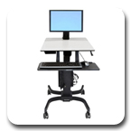 Ergotron 24-215-085 WorkFit-C Sit-Stand Workstation for Single LD LCD Monitor with Mobile Cart Base (black/grey)