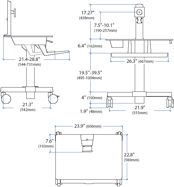 Sit Stand Cart Ergotron 24 215 085 Workfit C Single Ld