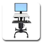 Ergotron 24-216-085 WorkFit-C Sit-Stand Workstation for Single HD Large Display with Mobile Cart Base (black/grey)