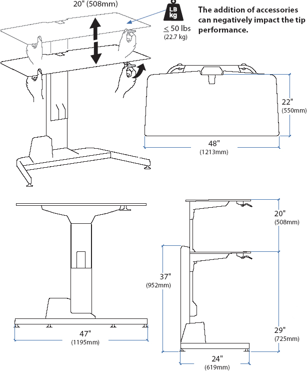 Technical drawing for Ergotron 24-219-200  Sit-Stand Workstation