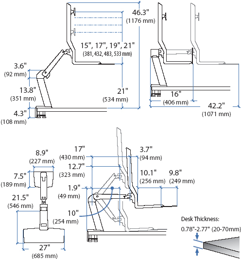 Technical drawing for Ergotron 24-259-026 Single LD Sit-Stand Workstation