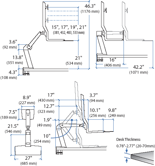 Technical drawing for Ergotron 24-260-026 Single HD Sit-Stand Workstation