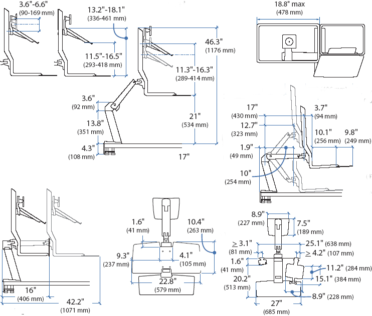 Technical drawing for Ergotron 24-273-026 LCD & Laptop Workstation with Worksurface