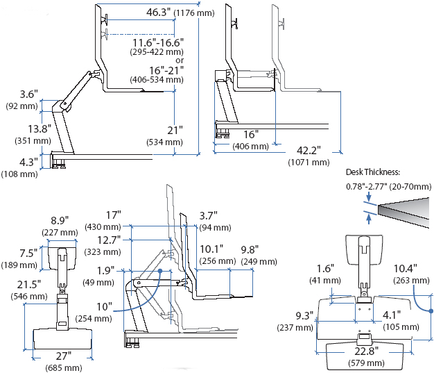 Technical drawing for Ergotron 24-274-026 Single LD Workstation with Worksurface