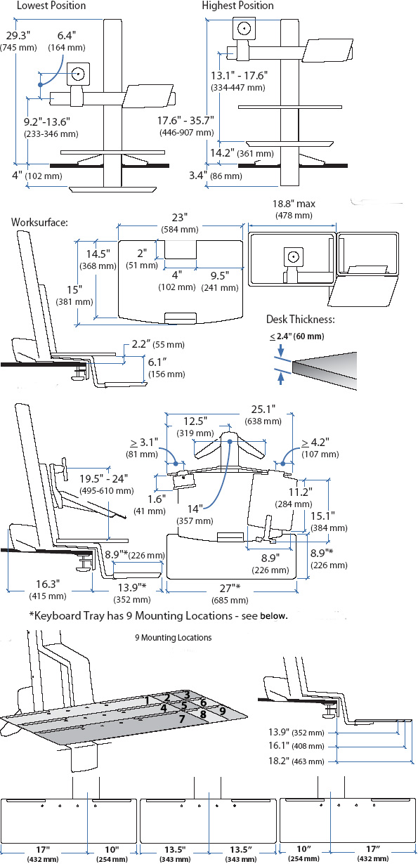 Technical drawing for Ergotron LCD & Laptop Sit-Stand Workstation with Worksurface and KB Tray
