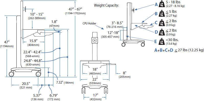 Technical drawing for Ergotron 24-198-055 WorkFit-C, Single LD Sit-Stand Workstation