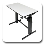 Ergotron 24-271-926 WorkFit-D Height Adjustable Sit-Stand Desk (black with light-grey surface)