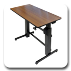 Ergotron 24-271-927 WorkFit-D Height Adjustable Sit-Stand Desk (black with faux-cherry-grain surface)