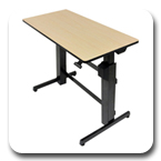Ergotron 24-271-928 WorkFit-D Height Adjustable Sit-Stand Desk (black with faux-birch-grain surface)