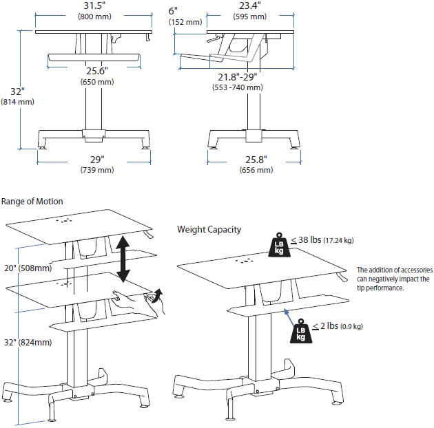 Technical Drawing for Ergotron 24-280-085 Sit Stand Workstation