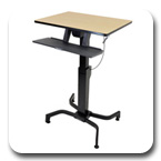 Ergotron 24-280-928 WorkFit-PD Height Adjustable Sit-Stand Desk - Black with Birch Surface