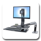 Ergotron 24-314-026 WorkFit-A Single HD Height Adjustable Workstation with Worksurface