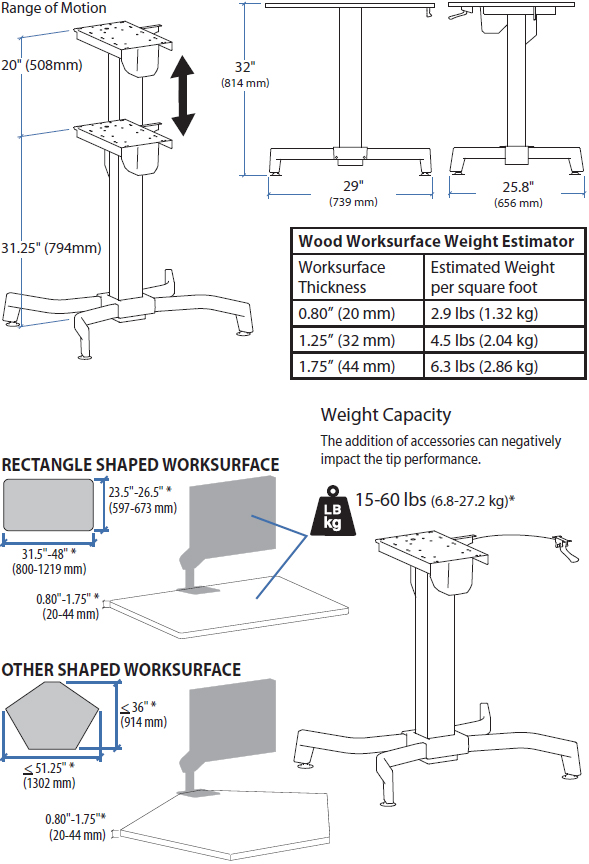 Technical drawing for Ergotron 24-387-200 WorkFit-B Light Duty Sit-Stand Base