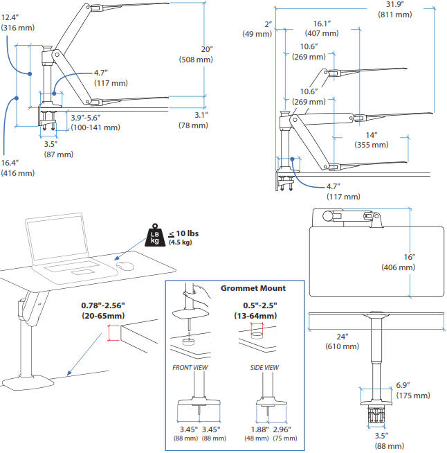 Technical drawing for Apple Compatible Ergotron 24-408-227 WorkFit-P Sit-Stand Workstation