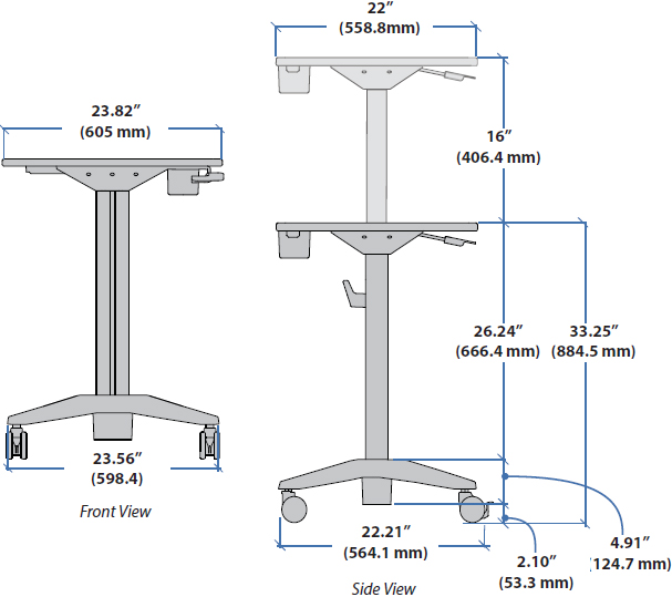 Technical drawing for Ergotron 24-481-003 LearnFit Adjustable Standing Desk