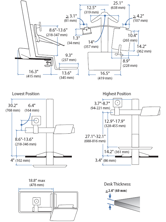 Technical Drawing for Ergotron 33-340-200 WorkFit-S LED & Notebook Desk Mount