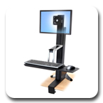 Ergotron 33-342-200 WorkFit-S Sit-Stand Workstation for Single LCD Monitor, LD