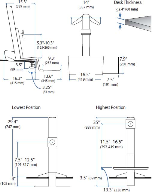 Technical Drawing for Ergotron 33-342-200 Single LD Workstation