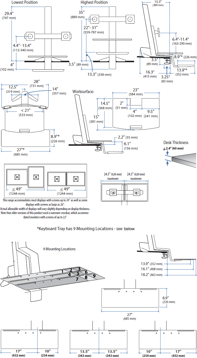 Technical drawing for Ergotron 33-349-200 WorkFit-S, Dual Monitor with Worksurface
