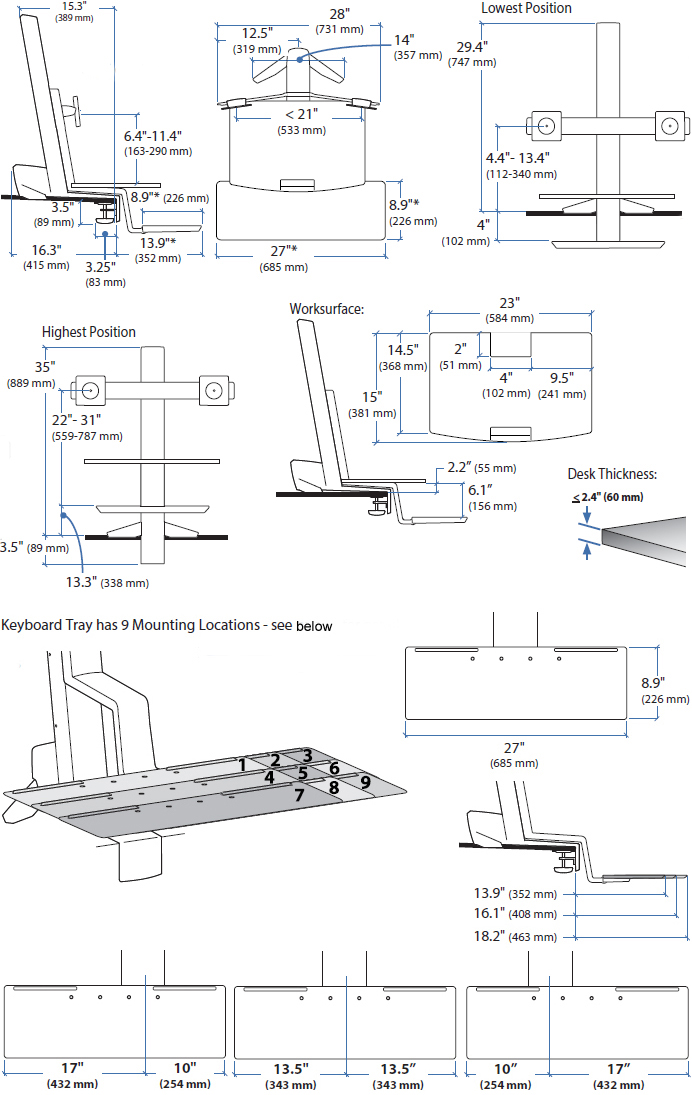 Technical drawing for Ergotron 33-349-211 WorkFit-S, Dual Monitor with Worksurface