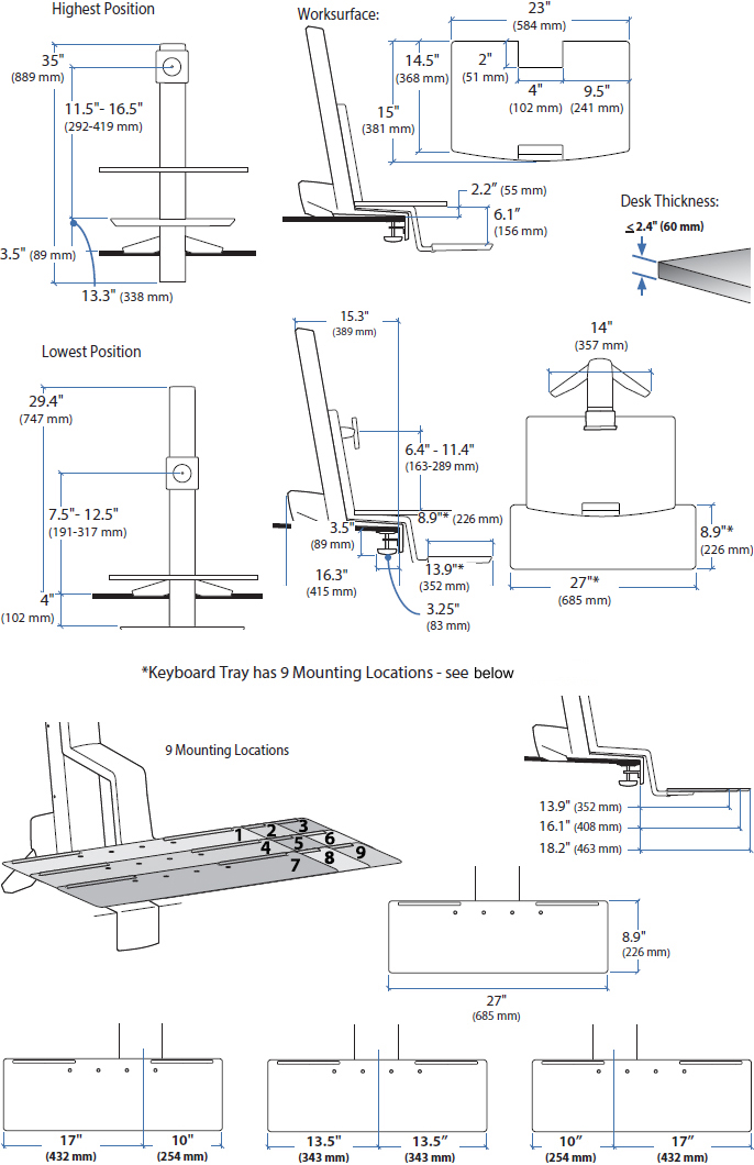 Technical drawing for Ergotron 33-351-200 WorkFit-S, Single HD with Worksurface