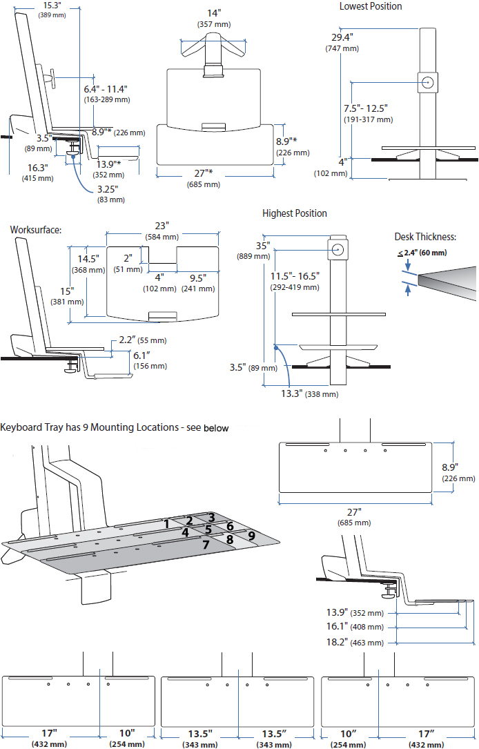 Technical drawing for Ergotron 33-351-211 WorkFit-S, Single HD with Worksurface