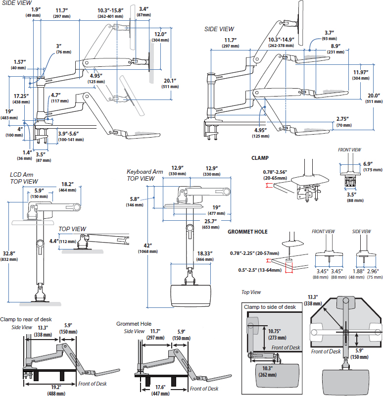 Technical drawing for Ergotron 45-405-026 WorkFit-LX Sit-Stand Desk Mount System