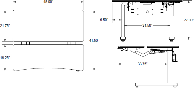 Technical drawing for Ergotron MVJB48SS Elevate Adjusta 48, Electric Sit-Stand Desk