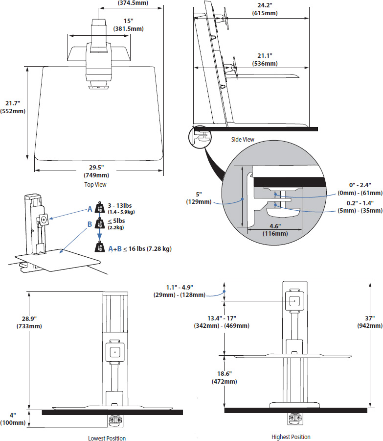 Technical drawing for Ergotron 33-415-062 WorkFit-SR Single Sit-Stand Workstation (White)