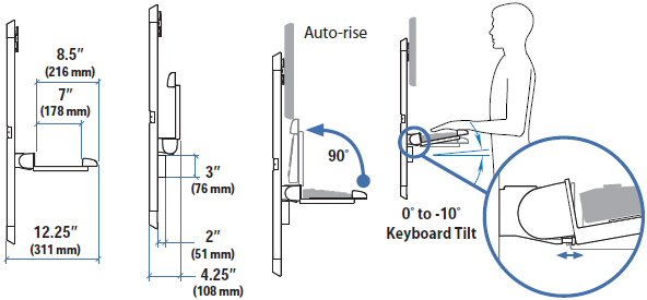 Drawing for Ergotron Vertical Lift Auto-Retracting Keyboard Kit