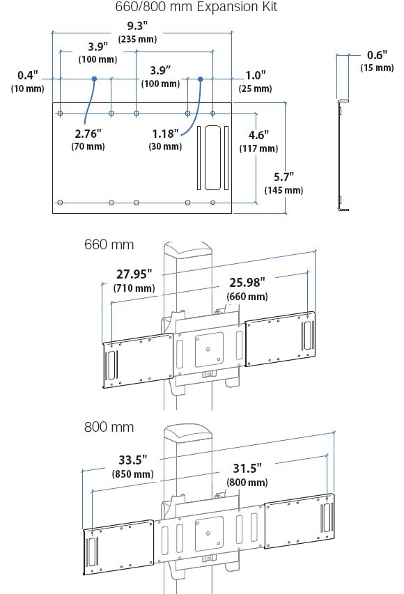 Technical Drawing for Ergotron Mobile Media Center 800 mm Extension Kit