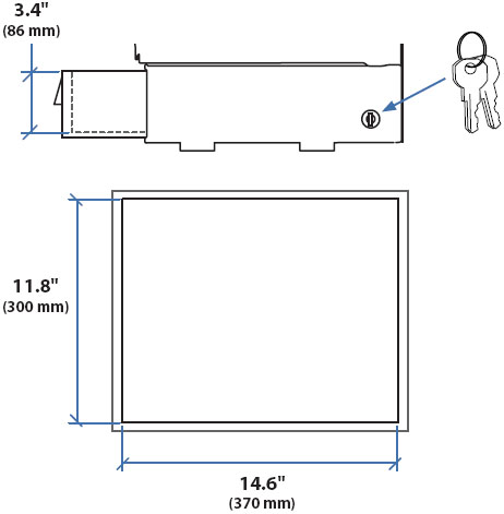 Technical Drawing for Ergotron TeachWell Locking Drawer