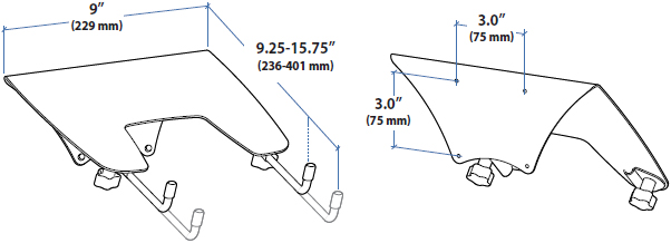 Technical Drawing for Ergotron Laptop Mount Tray