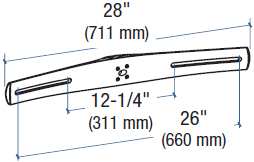 "Technical Drawing for Ergotron DS100 28"" Crossbar"