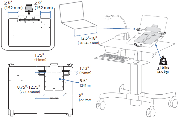 Technical Drawing for Ergotron TeachWell MDW Laptop Kit