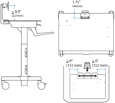 Technical Drawing for Ergotron TeachWell MDW LCD Kit