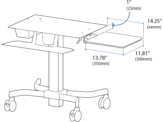 Technical Drawing for Ergotron TeachWell MDW Projector Shelf