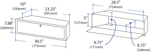 Technical Drawing for Ergotron TeachWell MDW Storage Bin