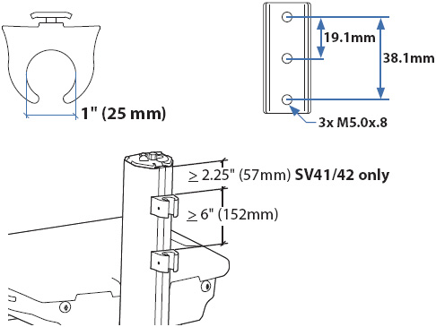 Technical Drawing of Ergotron StyleView IV Pole Clamp Kit
