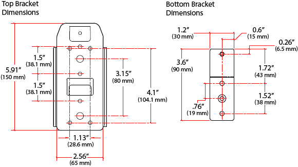 Technical Drawing for Ergotron 80-105-064 CPU Holder