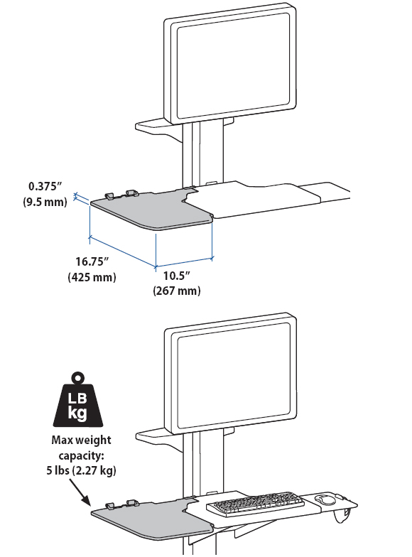 Technical Drawing for Ergotron 97-483-055 Neo-Flex Extended Worksurface
