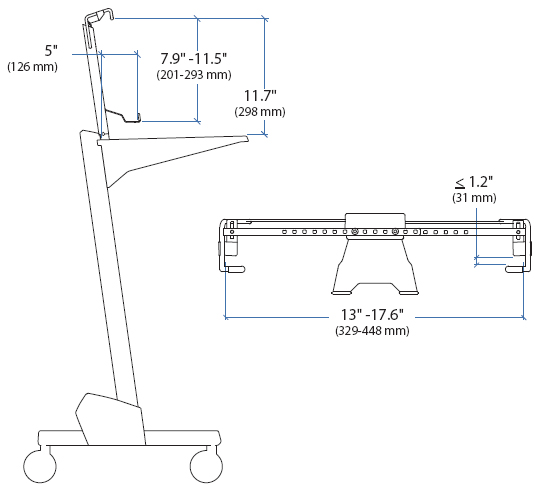 Technical Drawings for Ergotron Vertical Laptop Kit for NeoFlex Cart