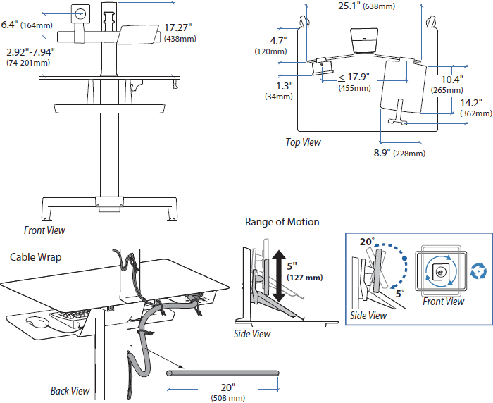 Technical Drawing for Ergotron 97-662 WorkFit-PD LCD & Laptop Kit