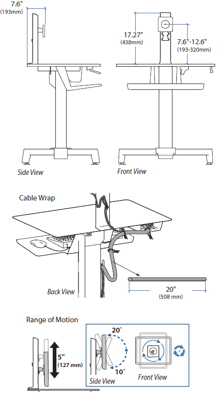Technical Drawing for ergotron 97-664 WorkFit-PD Single LD Monitor Kit