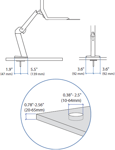Technical Drawing for Ergotron 97-692 WorkFit-A Grommet Mount Kit