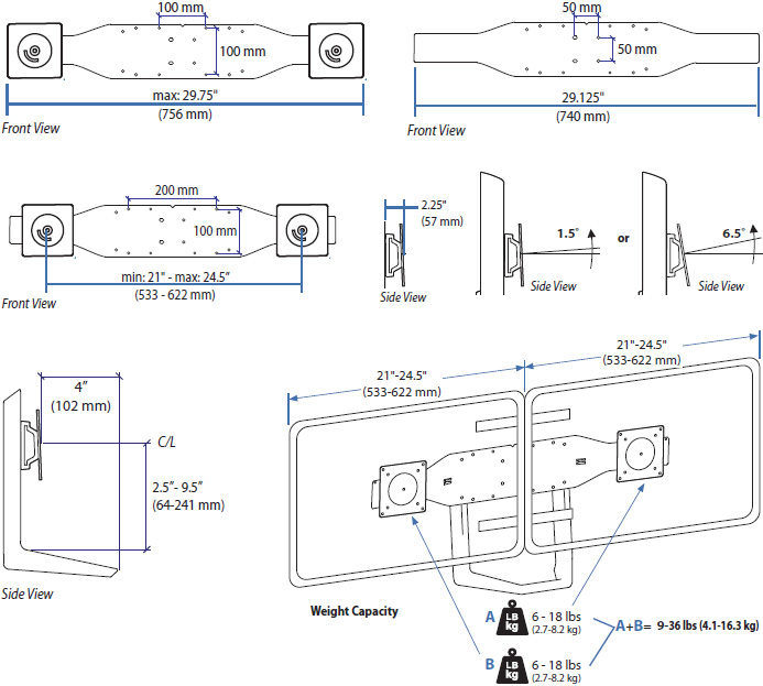 Technical Drawing for Ergotron 97-718-009 Dual Monitor and Handle Kit